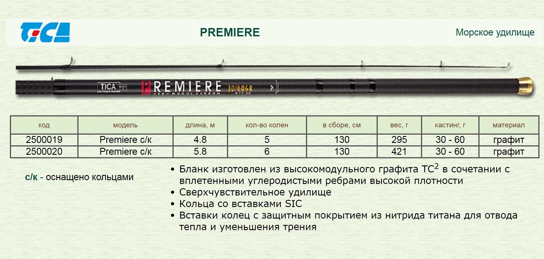 Удочка Tica Premiere с кольцами длина 4.80 м тест 30-60 грамм